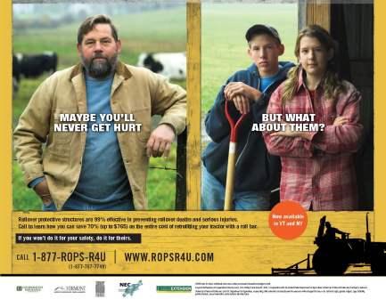 Farmer & Children promoting ROPS for tractors